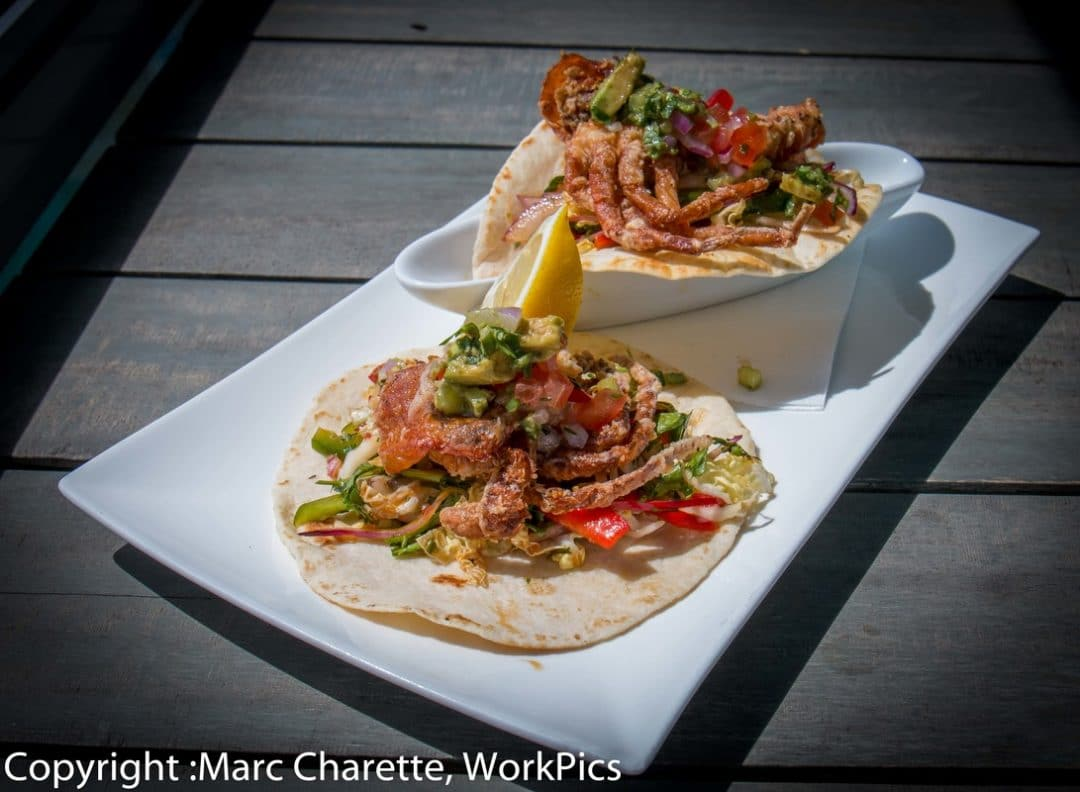 Commercial photography of waterfront restaurant's plated soft shell crab